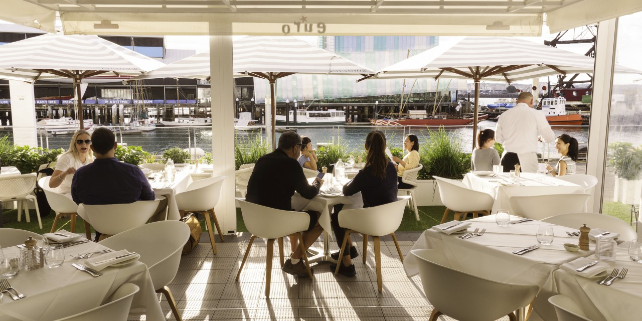 Sunny outside dining area with view of the harbour