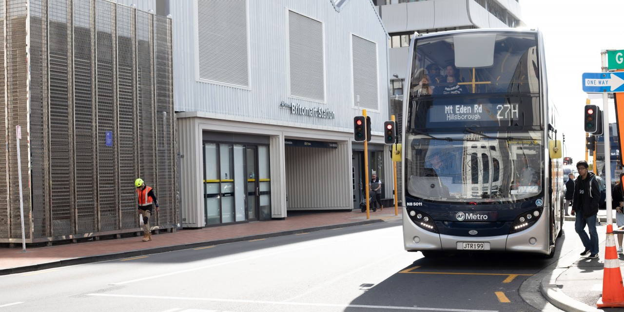 Bus outside Britomart station