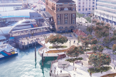 Detail showing the new Downtown public space - with landscaped areas to spend time reaching out over the harbour - on Quay Street, next to the Ferry Building.