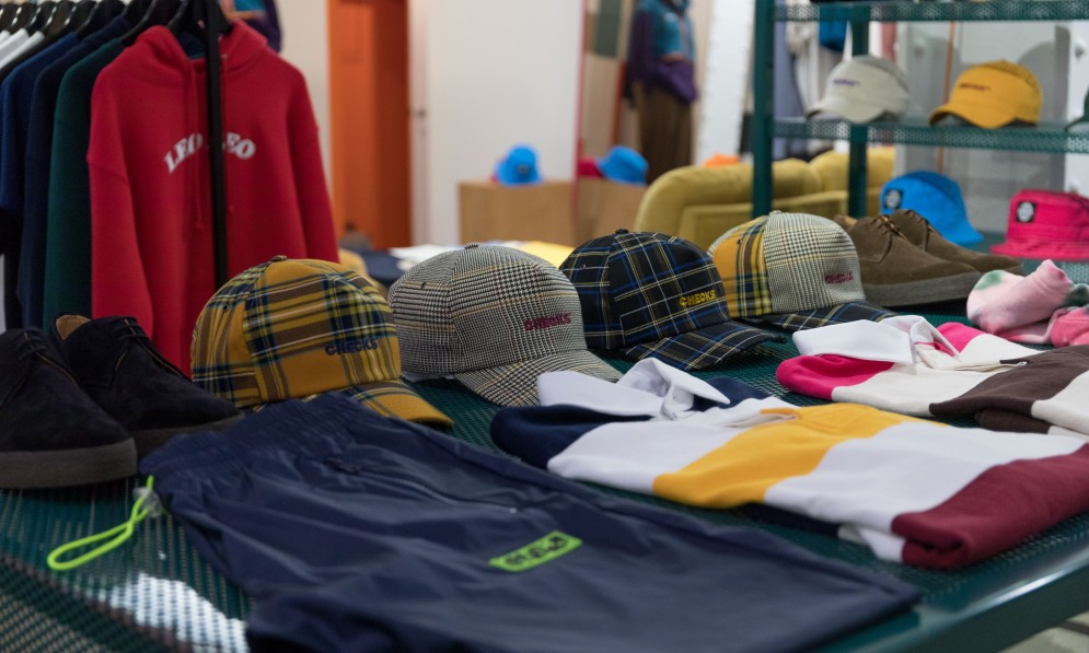 Clothing on display in store