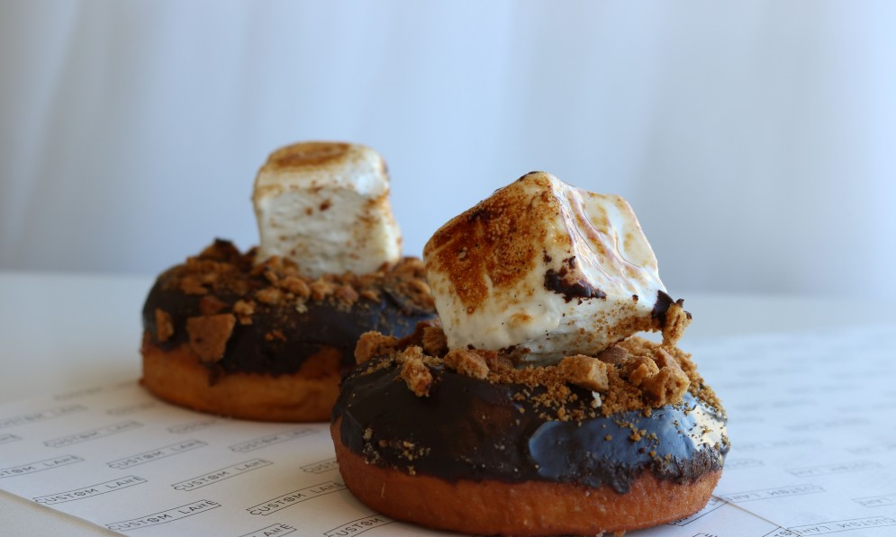 Donuts with thick marshmallows on top
