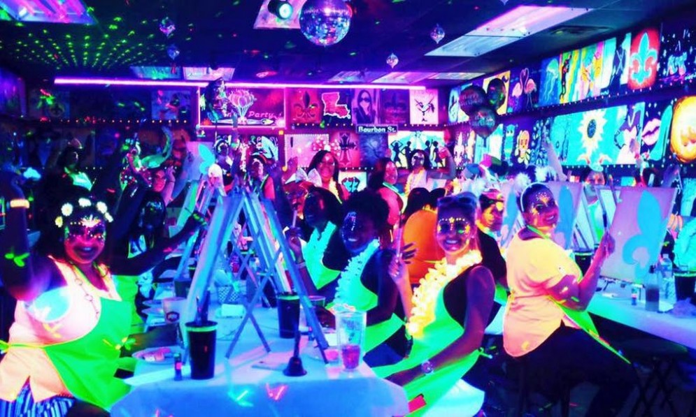Neon party in a club