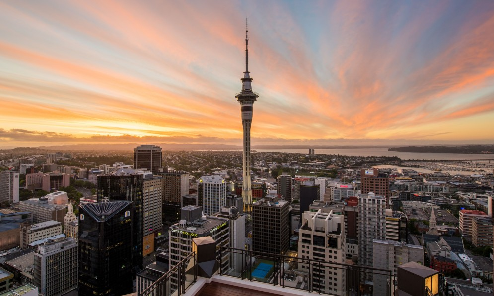 View of Auckland City and Skytower