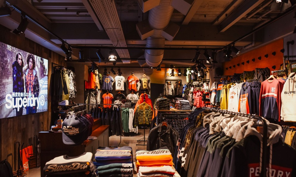 Superdry outerwear displayed in showroom