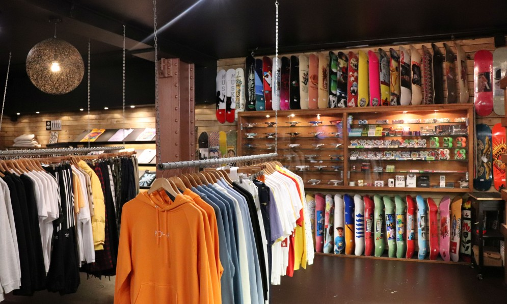 Garments and skateboards displayed