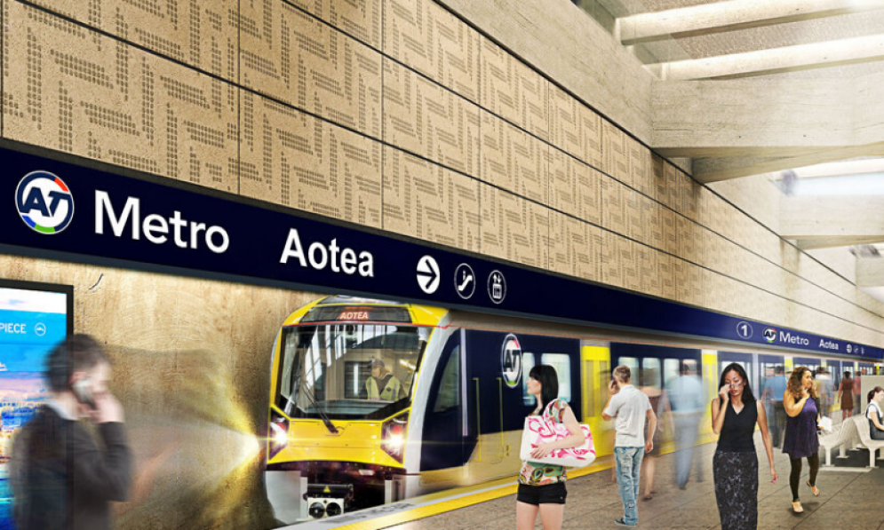 Artist's impression of the CRL Aotea Station, showing a train at the platform and light coming in through the skylight on the concourse level.