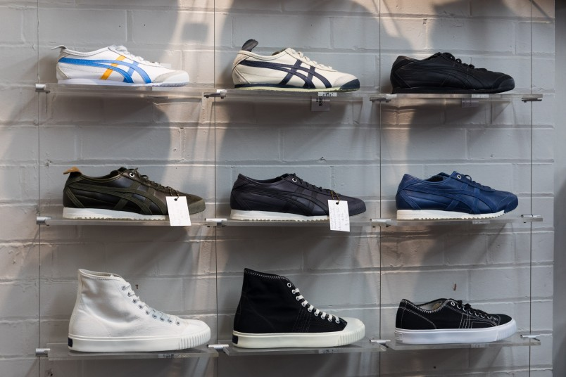 Shoes displayed on wall