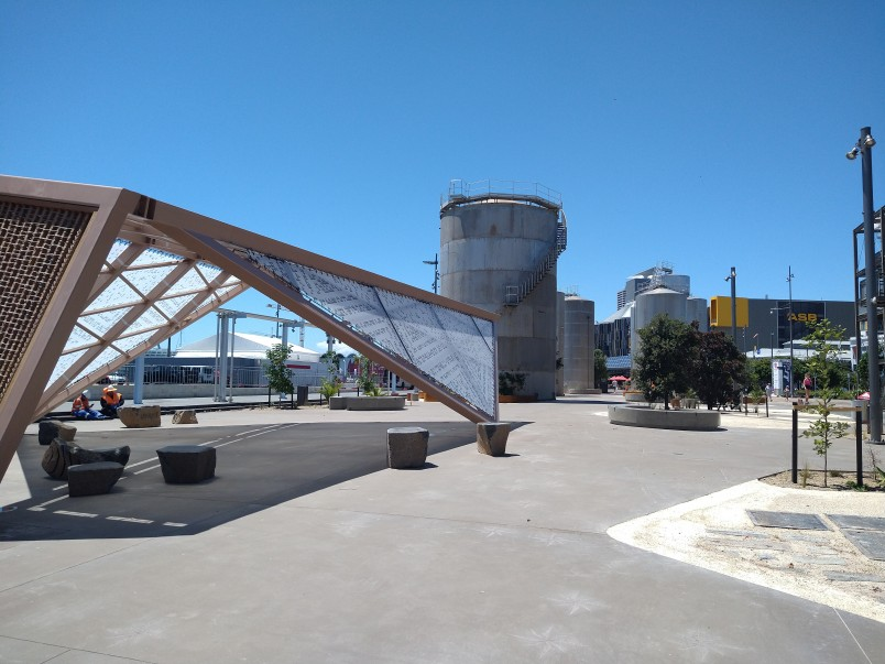 Te Nukuao pavilion at Silo Park, a waka-inspired shade structure designed by Tessa Harris.